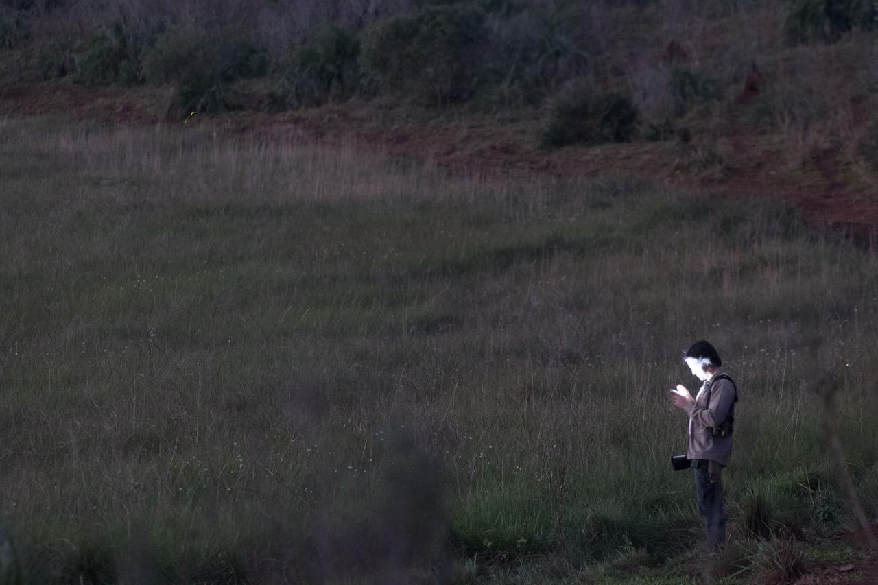 Alberto Esquivel, el biólogo al que acompañamos en su recorrido por la reserva, chequea distintos cantos de aves en su smartphone. (Tetsu Espósito).