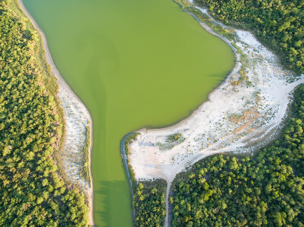 Una vista aérea de Laguna Campo María, una reserva de más de 4000 hectáreas que pertenece a la Cooperativa Chortitzer. (Tetsu Espósito).