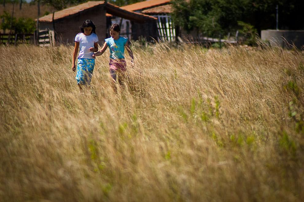 Niñas caminando por la pradera de pastos altos, luego de ser ocupadas por sus padres para dejar un recado a la casa vecina, generalmente las distancias entre casas o ranchos son muy grandes. Campaña de Caapucú, Departamento de Paraguarí. (Elton Núñez, 2009)