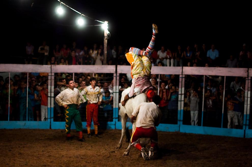 """El payaso """"Manzanita"""" realiza una acrobacia en el lomo del toro ante la mirada de los hermanos """"Ledesma"""". El payaso participa del show ayudando a someter al toro hasta vencerlo culminando con un gesto simpático aludiendo como héroe que él hizo todo el trabajo. (15 de Agosto, Paraguay - Elton Núñez)"""