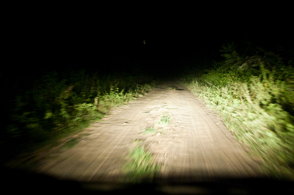 Camino de tierra hacia 15 de Agosto, cerca de las 20:00hs iluminado solamente por las luces del auto, la tierra es blanca debido a su cercanía al Rio (15 de Agosto, Paraguay - Elton Núñez)