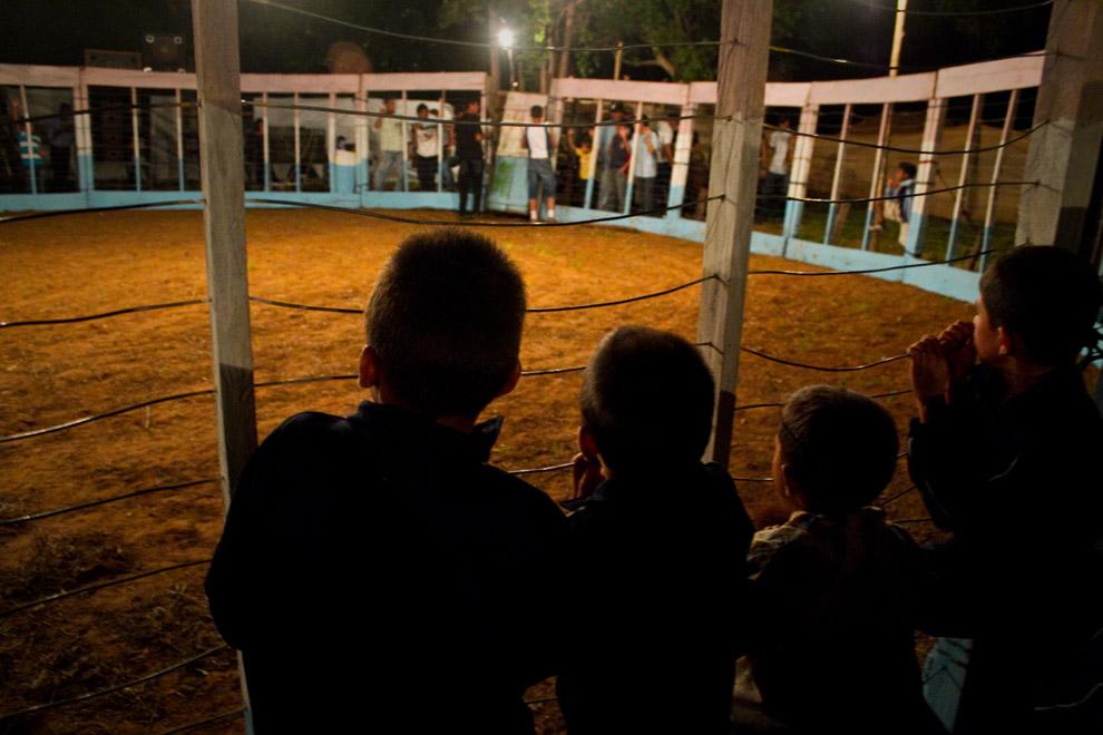 Niños observan curiosos, el interior del corral donde sera realizado el espectáculo.  (15 de Agosto, Paraguay - Tetsu Espósito)
