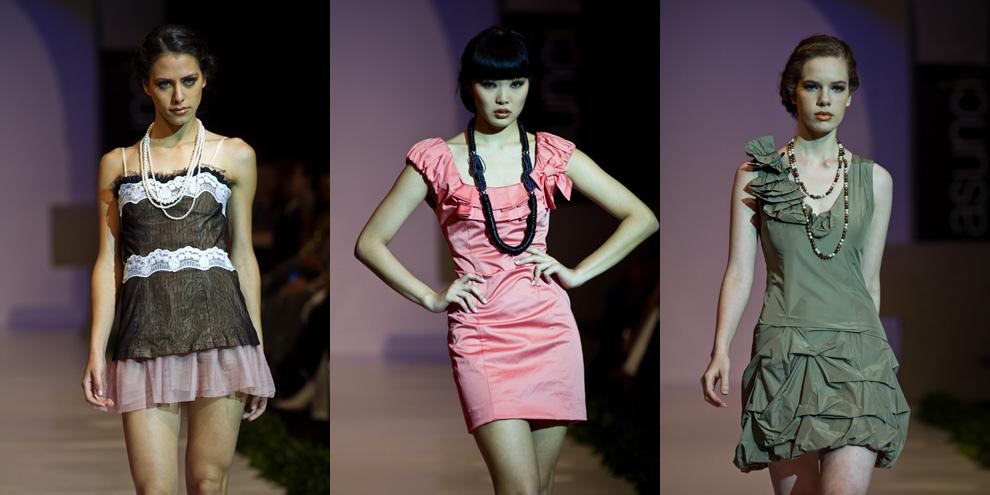 Fiorella Migliore, Alice Park y Ana Ortiz presentan las colecciones de Gilardini en el destaque de la pasarela en el Asunción Fashion Week. (Tetsu Espósito - Asunción Paraguay)