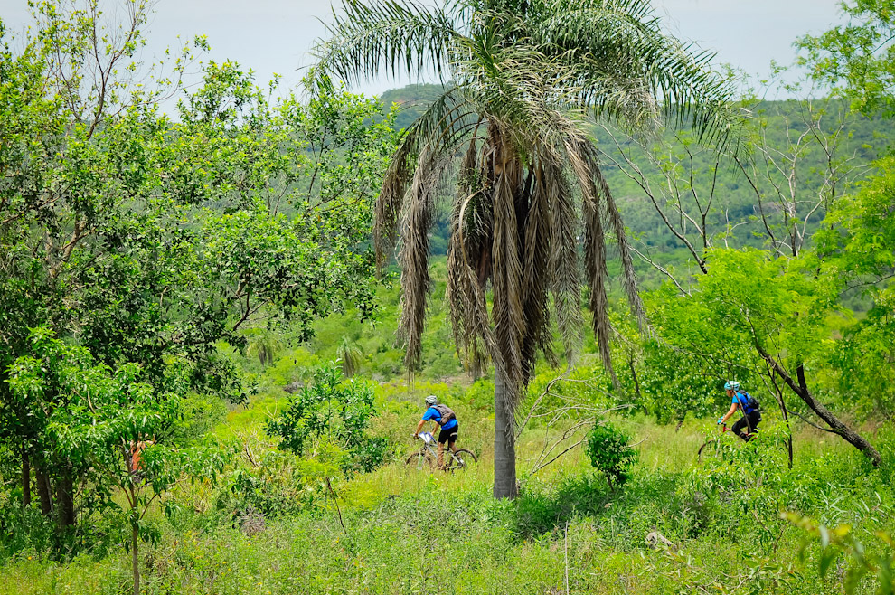 Una pareja de la modalidad Mountain Bike avanza por los campos de Piribebuy en la edición 2011 de la ecoaventura Mandu'arã Light. (Elton Núñez)