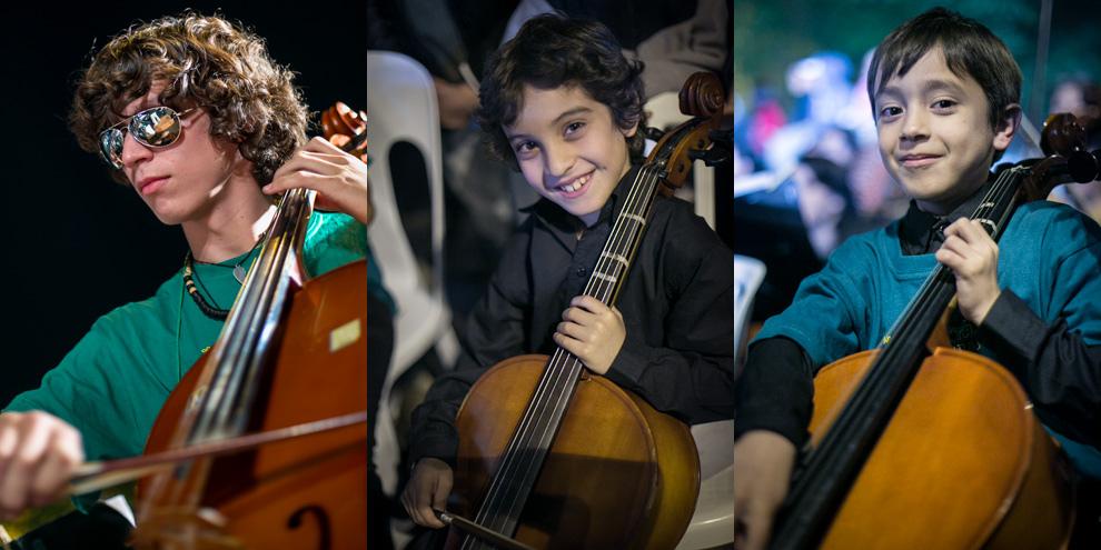 Tres jóvenes talentos en pleno megaconcierto, deleitaban con las composiciones seleccionadas para el público. (Tetsu Espósito)