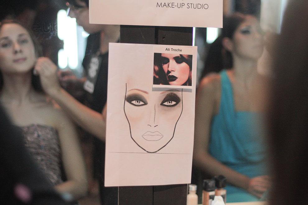 Las maquilladoras preparan a las distintas modelos según el look que será utilizado para el siguiente desfile. (Guillermo Morales)