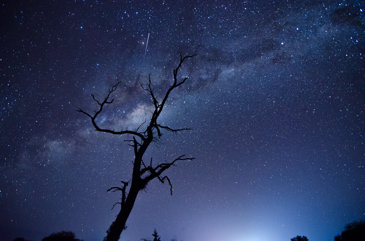 La Vía Láctea es vista desde las 20:00 horas el 23 de Julio, fotografiada desde una zona retirada a 6 kilómetros del poblado de Lolita, en el chaco paraguayo, donde sus luces ya no molestan para hacer astrofotografía. (Elton Núñez).